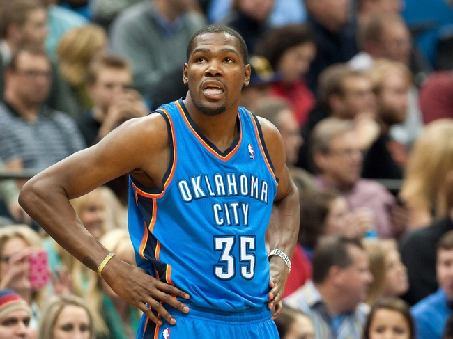 Nov 1, 2013; Minneapolis, MN, USA; Oklahoma City Thunder small forward Kevin Durant (35) during the second quarter against the Minnesota Timberwolves at Target Center. Timberwolves won 100-81. Mandatory Credit: Greg Smith-USA TODAY Sports
