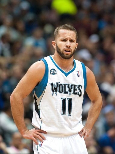 Nov 1, 2013; Minneapolis, MN, USA; Minnesota Timberwolves point guard J.J. Barea (11) during the second quarter against the Oklahoma City Thunder at Target Center. Timberwolves won 100-81. Mandatory Credit: Greg Smith-USA TODAY Sports