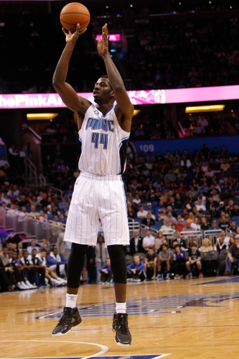 Nov 6, 2013; Orlando, FL, USA; Orlando Magic power forward Andrew Nicholson (44) shoots against the Los Angeles Clippers during the second half at Amway Center. Orlando Magic defeated the Los Angeles Clippers 98-90. Mandatory Credit: Kim Klement-USA TODAY Sports