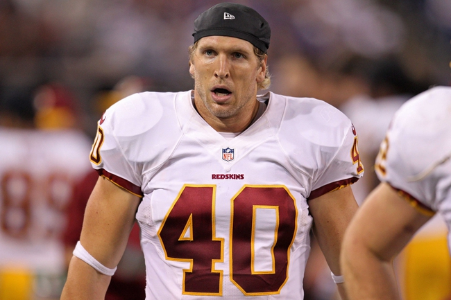 Nov 7, 2013; Minneapolis, MN, USA; Washington Redskins long snapper Kyle Nelson (40) against the Minnesota Vikings at Mall of America Field at H.H.H. Metrodome. The Vikings defeated the Redskins 34-27. Mandatory Credit: Brace Hemmelgarn-USA TODAY Sports
