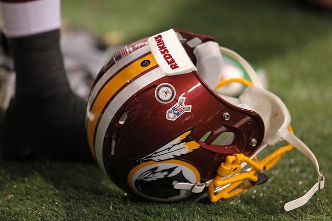 Nov 7, 2013; Minneapolis, MN, USA; A Washington Redskins helmet against the Minnesota Vikings at Mall of America Field at H.H.H. Metrodome. The Vikings defeated the Redskins 34-27. Mandatory Credit: Brace Hemmelgarn-USA TODAY Sports