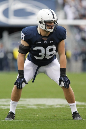 Nov 2, 2013; University Park, PA, USA; Penn State Nittany Lions linebacker Ben Kline (38) during the third quarter against the Illinois Fighting Illini at Beaver Stadium. Penn State defeated Illinois 24-17. Mandatory Credit: Matthew O'Haren-USA TODAY Sports