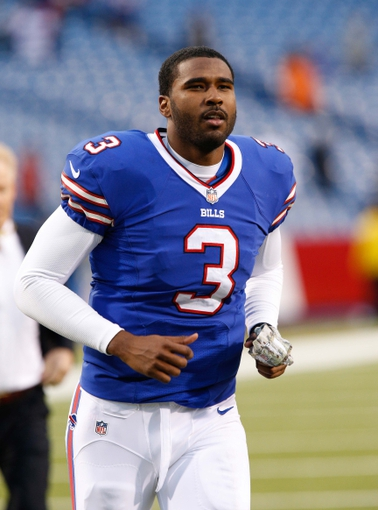 Nov 17, 2013; Orchard Park, NY, USA; Buffalo Bills quarterback EJ Manuel (3) runs off the field after beating the New York Jets at Ralph Wilson Stadium. Bills beat the Jets 37-14. Mandatory Credit: Kevin Hoffman-USA TODAY Sports