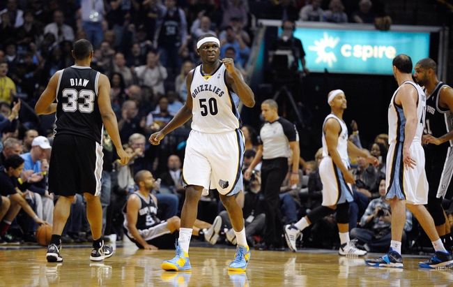 Nov 22, 2013; Memphis, TN, USA; Memphis Grizzlies power forward Zach Randolph (50) celebrates after a basket against the San Antonio Spurs during the third quarter at FedExForum. Mandatory Credit: Justin Ford-USA TODAY Sports