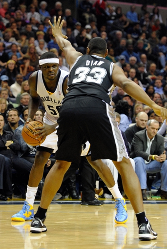Nov 22, 2013; Memphis, TN, USA; San Antonio Spurs power forward Boris Diaw (33) guards Memphis Grizzlies power forward Zach Randolph (50) during the third quarter at FedExForum. Mandatory Credit: Justin Ford-USA TODAY Sports