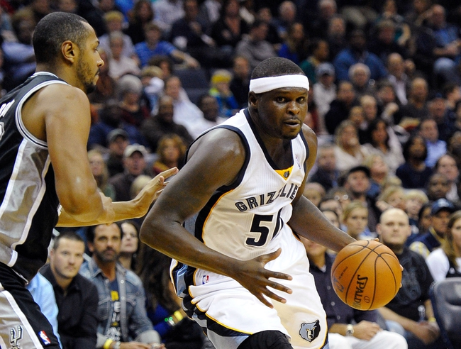 Nov 22, 2013; Memphis, TN, USA; Memphis Grizzlies power forward Zach Randolph (50) handles the ball against the San Antonio Spurs during the third quarter at FedExForum. Mandatory Credit: Justin Ford-USA TODAY Sports