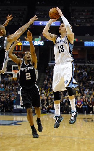 Nov 22, 2013; Memphis, TN, USA; Memphis Grizzlies small forward Mike Miller (13) shoots the ball against San Antonio Spurs small forward Kawhi Leonard (2) during the fourth quarter at FedExForum. San Antonio Spurs beat the Memphis Grizzlies 102-86. Mandatory Credit: Justin Ford-USA TODAY Sports