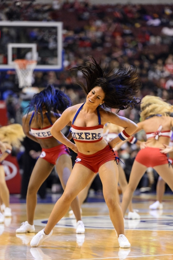 Nov 20, 2013; Philadelphia, PA, USA; Philadelphia 76ers dream team dancers perform during the fourth quarter against the Toronto Raptors at Wells Fargo Center. The Raptors defeated the Sixers 108-98. Mandatory Credit: Howard Smith-USA TODAY Sports