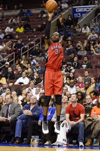 Nov 20, 2013; Philadelphia, PA, USA; Toronto Raptors guard Terrence Ross (31) shoots a jump shot during the third quarter against the Philadelphia 76ers at Wells Fargo Center. The Raptors defeated the Sixers 108-98. Mandatory Credit: Howard Smith-USA TODAY Sports