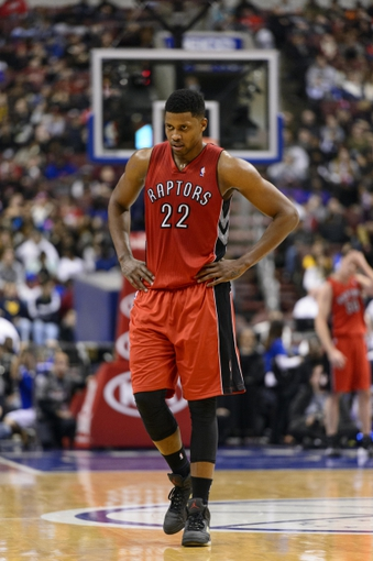 Nov 20, 2013; Philadelphia, PA, USA; Toronto Raptors forward Rudy Gay (22) during the third quarter against the Philadelphia 76ers at Wells Fargo Center. The Raptors defeated the Sixers 108-98. Mandatory Credit: Howard Smith-USA TODAY Sports