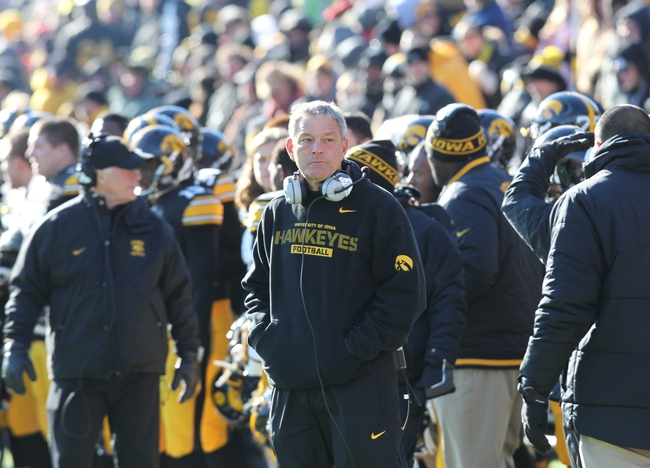 Nov 23, 2013; Iowa City, IA, USA;  Iowa Hawkeye Head Coach Kirk Ferentz looks during their game against the Michigan Wolverines at Kinnick Stadium. Iowa beat Michigan 24-21.  Mandatory Credit: Reese Strickland-USA TODAY Sports