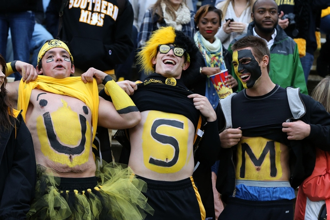 Nov 23, 2013; Hattiesburg, MS, USA; Southern Miss Golden Eagles fans show their support during the first quarter of their game against the Middle Tennessee Blue Raiders at M.M. Roberts Stadium. Mandatory Credit: Chuck Cook-USA TODAY Sports