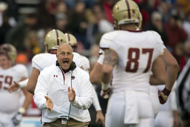 Nov 23, 2013; College Park, MD, USA; Boston College Eagles head coach Steve Addazio congratulates his team after scoring a field goal during the first half against the Maryland Terrapins at Byrd Stadium. Mandatory Credit: Tommy Gilligan-USA TODAY Sports