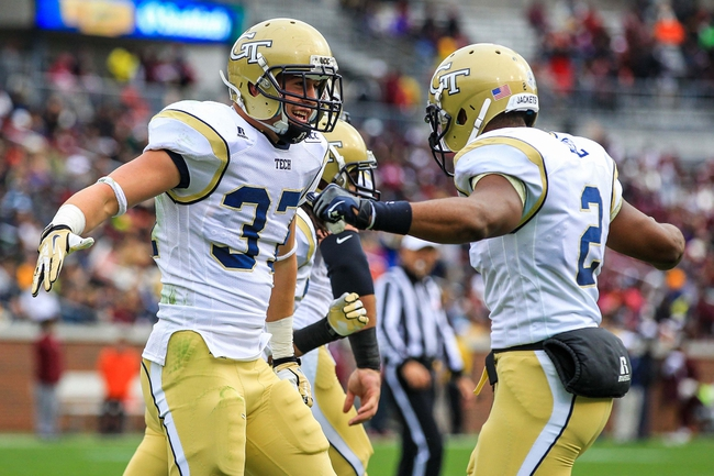 Nov 23, 2013; Atlanta, GA, USA; Georgia Tech Yellow Jackets running back Zach Laskey (37) celebrates a touchdown with quarterback Vad Lee (2) in the first half against the Alab