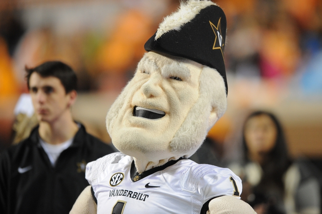 Nov 23, 2013; Knoxville, TN, USA; Vanderbilt Commodores mascot Commodore before the game against the Tennessee Volunteers at Neyland Stadium. Mandatory Credit: Randy Sartin-USA TODAY Sports