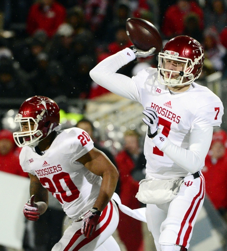 Nov 23, 2013; Columbus, OH, USA; Indiana Hoosiers quarterback Nate Sudfeld (7)passes the ball during the second half of the game against the Ohio State Buckeyes at Ohio Stadium. Mandatory Credit: Marc Lebryk-USA TODAY Sports