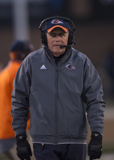 Nov 23, 2013; Denton, TX, USA; UTSA Roadrunners head coach Larry Coker during the second half against the North Texas Mean Green at Apogee Stadium. The Roadrunners defeated the Mean Green 21-13. Mandatory Credit: Jerome Miron-USA TODAY Sports
