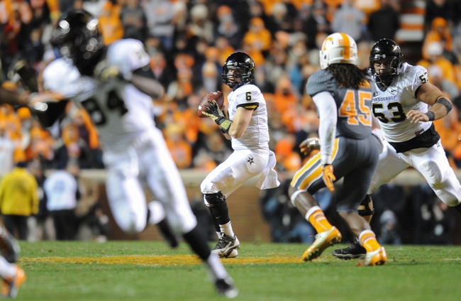 Nov 23, 2013; Knoxville, TN, USA; Vanderbilt Commodores quarterback Austyn Carta-Samuels (6) looks to pass the ball against the Tennessee Volunteers during the first quarter against the Tennessee Volunteers at Neyland Stadium. Mandatory Credit: Randy Sartin-USA TODAY Sports