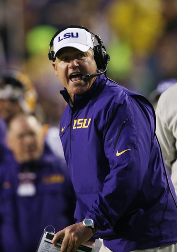 Nov 23, 2013; Baton Rouge, LA, USA; LSU Tigers head coach Les Miles reacts to a call in the second half at at Tiger Stadium. LSU defeated the Texas A&M Aggies 34-10. Mandatory Credit: Crystal LoGiudice-USA TODAY Sports