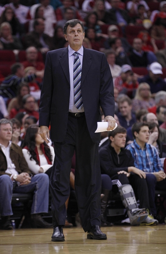 Nov 23, 2013; Houston, TX, USA; Houston Rockets head coach Kevin McHale during the second quarter at Toyota Center. Mandatory Credit: Andrew Richardson-USA TODAY Sports