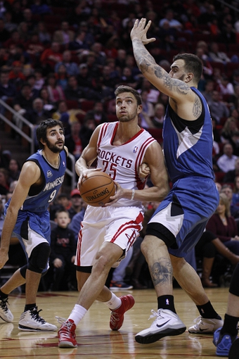 Nov 23, 2013; Houston, TX, USA; Houston Rockets small forward Chandler Parsons (25) shoots the ball during the second quarter at Toyota Center. Mandatory Credit: Andrew Richardson-USA TODAY Sports