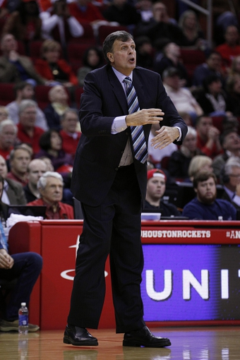 Nov 23, 2013; Houston, TX, USA; Houston Rockets head coach Kevin McHale signals to the officials during the third quarter against the Minnesota Timberwolves at Toyota Center. Mandatory Credit: Andrew Richardson-USA TODAY Sports