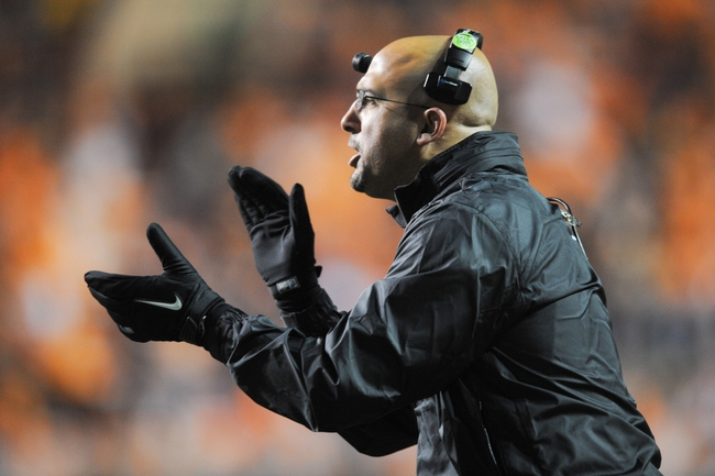 Nov 23, 2013; Knoxville, TN, USA; Vanderbilt Commodores head coach James Franklin during the game against the Tennessee Volunteers at Neyland Stadium. Vanderbilt won 14 to 10. Mandatory Credit: Randy Sartin-USA TODAY Sports
