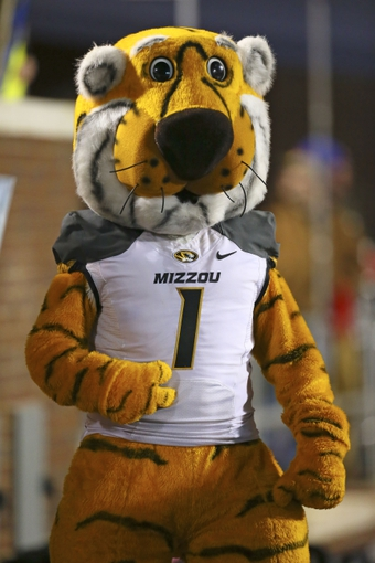 Nov 23, 2013; Oxford, MS, USA; Missouri Tigers mascot during the game against the Mississippi Rebels at Vaught-Hemingway Stadium. Missouri Tigers defeat the Mississippi Rebels 24-10.  Mandatory Credit: Spruce Derden-USA TODAY Sports
