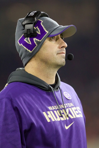 Nov 23, 2013; Corvallis, OR, USA; Washington Huskies head coach Steve Sarkisian during a timeout against Oregon State Beavers in the first half at Reser Stadium. Mandatory Credit: Jaime Valdez-USA TODAY Sports