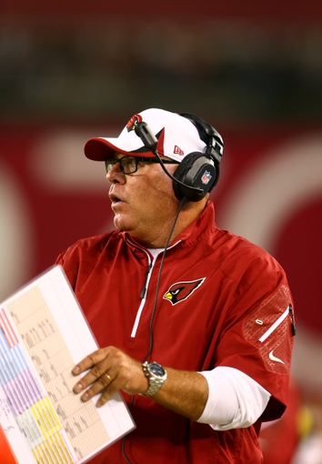 Aug. 24, 2013; Glendale, AZ, USA: Arizona Cardinals head coach Bruce Arians against the San Diego Chargers during a preseason game at University of Phoenix Stadium. Mandatory Credit: Mark J. Rebilas-USA TODAY Sports