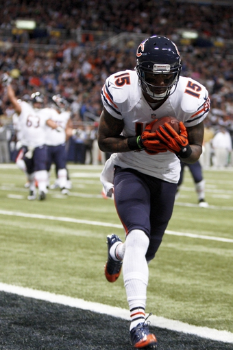 Nov 24, 2013; St. Louis, MO, USA; Chicago Bears wide receiver Brandon Marshall (15) scores a touchdown in the second quarter against the St. Louis Rams at the Edward Jones Dome. Mandatory Credit: Scott Kane-USA TODAY Sports
