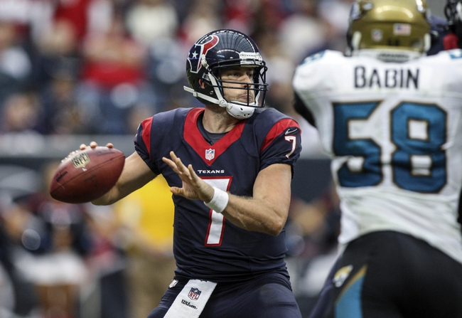 Nov 24, 2013; Houston, TX, USA; Houston Texans quarterback Case Keenum (7) looks for an open receiver during the fourth quarter against the Jacksonville Jaguars at Reliant Stadium. The Jaguars defeated the Texans 13-6. Mandatory Credit: Troy Taormina-USA TODAY Sports