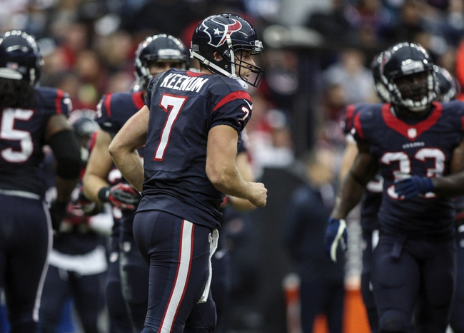 Nov 24, 2013; Houston, TX, USA; Houston Texans quarterback Case Keenum (7) runs off the field during the fourth quarter against the Jacksonville Jaguars at Reliant Stadium. The Jaguars defeated the Texans 13-6. Mandatory Credit: Troy Taormina-USA TODAY Sports