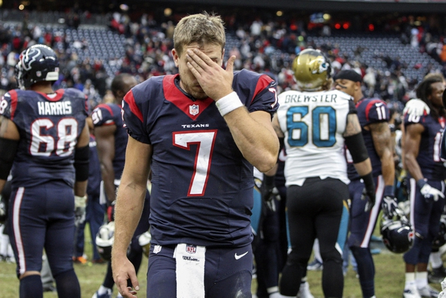 Nov 24, 2013; Houston, TX, USA; Houston Texans quarterback Case Keenum (7) walks off the field after a game against the Jacksonville Jaguars at Reliant Stadium. The Jaguars defeated the Texans 13-6. Mandatory Credit: Troy Taormina-USA TODAY Sports