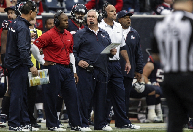 Nov 24, 2013; Houston, TX, USA; Houston Texans defensive coordinator Wade Phillips stands on the sideline during the fourth quarter against the Jacksonville Jaguars at Reliant Stadium. The Jaguars defeated the Texans 13-6. Mandatory Credit: Troy Taormina-USA TODAY Sports