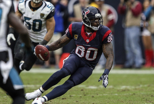 Nov 24, 2013; Houston, TX, USA; Houston Texans wide receiver Andre Johnson (80) makes a reception during the fourth quarter against the Jacksonville Jaguars at Reliant Stadium. The Jaguars defeated the Texans 13-6. Mandatory Credit: Troy Taormina-USA TODAY Sports