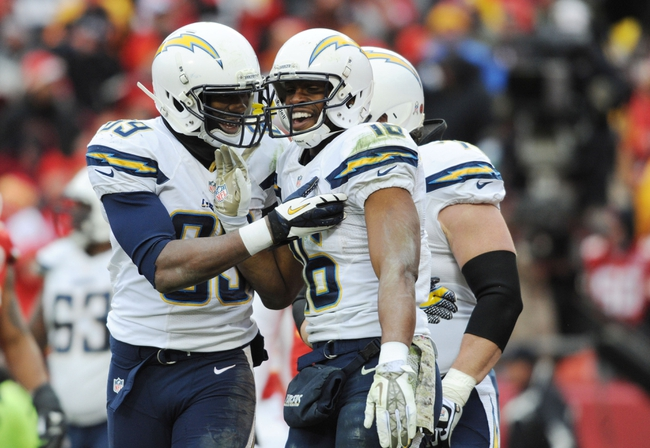 Nov 24, 2013; Kansas City, MO, USA; San Diego Chargers wide receiver Seyi Ajirotutu (16) tight end Ladarius Green (89) celebrate after a touchdown in the fourth quarter of the game against the Kansas City Chiefs at Arrowhead Stadium. The Chargers won 41-38. Mandatory Credit: Denny Medley-USA TODAY Sports