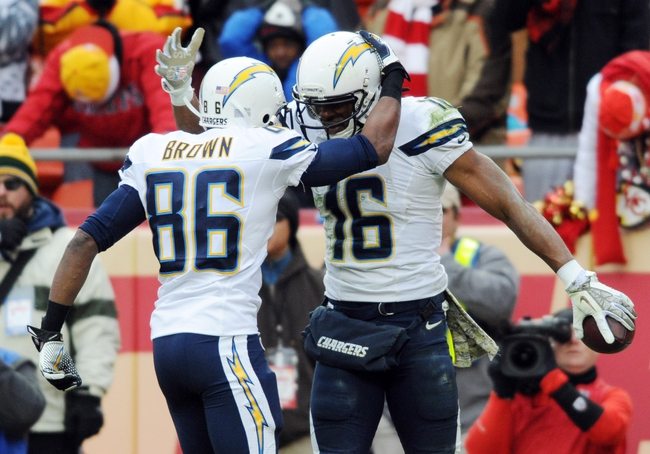 Nov 24, 2013; Kansas City, MO, USA; San Diego Chargers wide receiver Seyi Ajirotutu (16) is congratulated by wide receiver Vincent Brown (86) after scoring a touchdown during the fourth quarter of the game against the Kansas City Chiefs at Arrowhead Stadium. The Chargers won 41-38. Mandatory Credit: Denny Medley-USA TODAY Sports