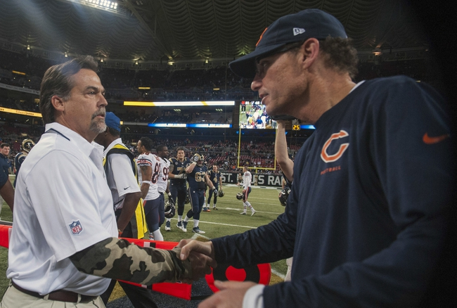 Nov 24, 2013; St. Louis, MO, USA; St. Louis Rams head coach Jeff Fisher is congratulated by Chicago Bears head coach Marc Trestman after a game at the Edward Jones Dome. St. Louis defeated Chicago 42-21. Mandatory Credit: Jeff Curry-USA TODAY Sports