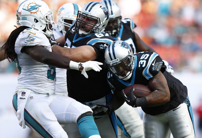 Nov 24, 2013; Miami Gardens, FL, USA; Carolina Panthers fullback Mike Tolbert (35) runs with the ball as center Ryan Kalil (67) blocks Miami Dolphins middle linebacker Dannell Ellerbe (59) in the second half of a game at Sun Life Stadium. The Panthers won 20-16. Mandatory Credit: Robert Mayer-USA TODAY Sports