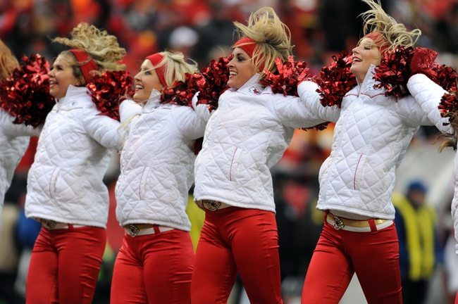 Nov 24, 2013; Kansas City, MO, USA; Kansas City Chiefs cheerleaders entertain the crowd during the second half of the game  against the San Diego Chargers at Arrowhead Stadium. The Chargers won 41-38. Mandatory Credit: Denny Medley-USA TODAY Sports