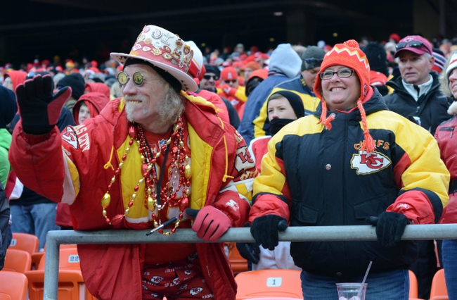 Nov 24, 2013; Kansas City, MO, USA; Kansas City Chiefs fans show their support during the second half of the game  against the San Diego Chargers at Arrowhead Stadium. The Chargers won 41-38. Mandatory Credit: Denny Medley-USA TODAY Sports