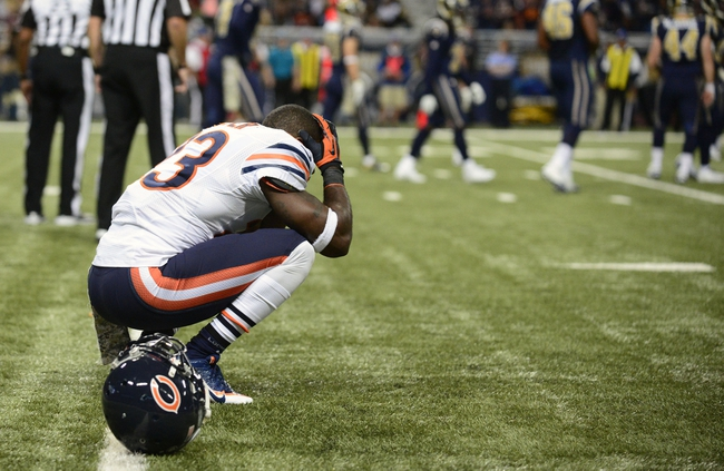 Nov 24, 2013; St. Louis, MO, USA; Chicago Bears wide receiver Devin Hester (23) reacts after a his touchdown punt return is called bag during the second half against the St. Louis Rams at the Edward Jones Dome. St. Louis defeated Chicago 42-21. Mandatory Credit: Jeff Curry-USA TODAY Sports
