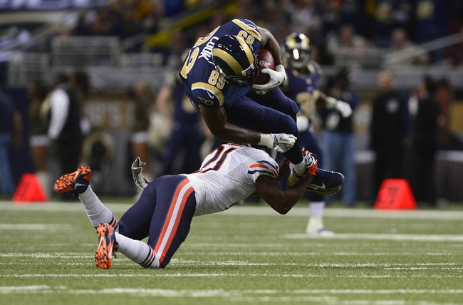 Nov 24, 2013; St. Louis, MO, USA; St. Louis Rams tight end Jared Cook (89) is tackled by Chicago Bears strong safety Major Wright (21) during the second half at the Edward Jones Dome. St. Louis defeated Chicago 42-21. Mandatory Credit: Jeff Curry-USA TODAY Sports