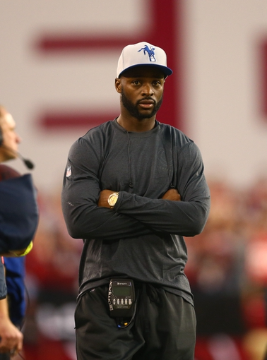 Nov 24, 2013; Phoenix, AZ, USA; Indianapolis Colts injured wide receiver Reggie Wayne on the sidelines in the second half against the Arizona Cardinals at University of Phoenix Stadium. The Cardinals defeated the Colts 40-11. Mandatory Credit: Mark J. Rebilas-USA TODAY Sports