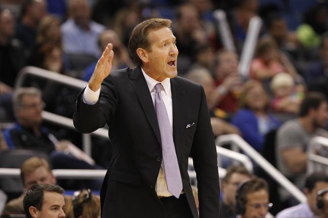 Nov 24, 2013; Orlando, FL, USA; Phoenix Suns head coach Jeff Hornacek reacts against the Orlando Magic during the second half at Amway Center. Phoenix Suns 104-96. Mandatory Credit: Kim Klement-USA TODAY Sports