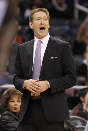 Nov 24, 2013; Orlando, FL, USA; Phoenix Suns head coach Jeff Hornacek calls a play against the Orlando Magic during the second half at Amway Center. Phoenix Suns 104-96. Mandatory Credit: Kim Klement-USA TODAY Sports