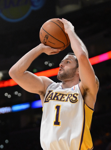 Nov 24, 2013; Los Angeles, CA, USA;   Los Angeles Lakers point guard Jordan Farmar (1) in the first half of the game against the Sacramento Kings at Staples Center. Mandatory Credit: Jayne Kamin-Oncea-USA TODAY Sports