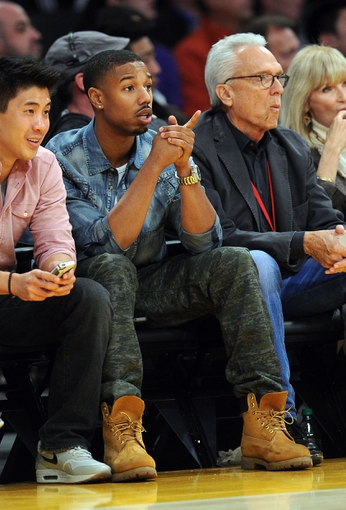Nov 24, 2013; Los Angeles, CA, USA;  Movie actor Michael Bakari Jordan watches the game between the Los Angeles Lakers the Sacramento Kings at Staples Center. Lakers won 100-86. Mandatory Credit: Jayne Kamin-Oncea-USA TODAY Sports