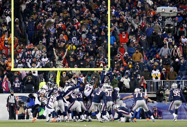 Nov 24, 2013; Foxborough, MA, USA; New England Patriots kicker Stephen Gostkowski (3) kicks the game winning field goal against the Denver Broncos in overtime at Gillette Stadium. The New England Patriots defeated the Denver Broncos 34-31. Mandatory Credit: David Butler II-USA TODAY Sports